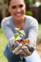 Frau, die Erde und eine Pflanze hält foto