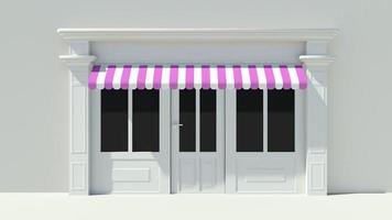 sonnige Ladenfront mit großen Fenstern weiße Ladenfassade foto