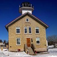 quadratische Ernte Leuchtturm Foto im Winter