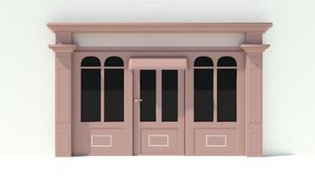 sonnige Ladenfront mit großen Fenstern weiße und braune Ladenfassade foto