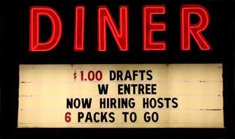 rotes Neon Diner Zeichen mit Text