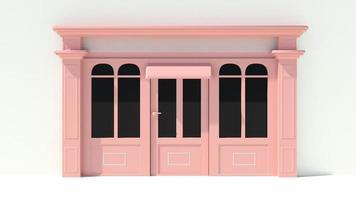 sonnige Ladenfront mit großen Fenstern weiße und rosa Ladenfassade foto