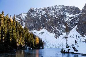 gefrorener blauer See in den Nordkakaden