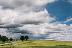 grüne Wiese unter weißen Wolken