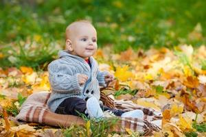 Kind im Strickpullover sitzt zwischen Kürbissen im Herbstpark