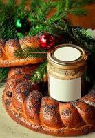 traditioneller slawischer russischer Weihnachtstisch
