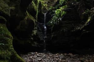 kleiner Wasserfall umgeben von grünem Moos
