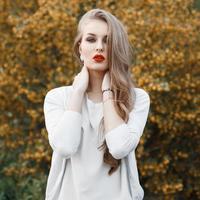 Porträt einer schönen Frau auf einem Hintergrund