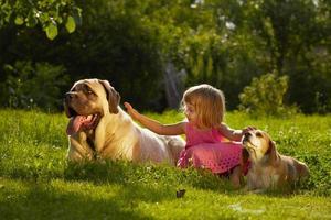 ein Mädchen, das draußen mit zwei Hunden spielt foto