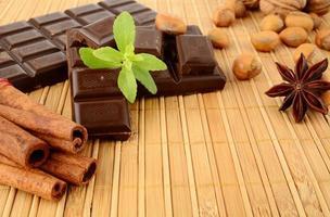 Schokolade, Anis und Zimt mit Salbei auf Holzmatte legen foto