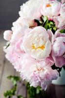 Bund Pfingstrosenblüten in einem Emailglas foto