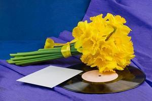 Narzissenblüten, Umschlag auf Hintergrund mit Schallplatte foto
