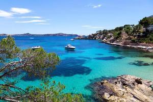 festgemachte Yachten in Cala Fornells, Mallorca foto