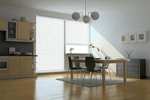 saubere moderne Küche und Essbereich foto