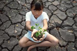 Kind, das auf dem Boden sitzt und eine junge Pflanze hält foto