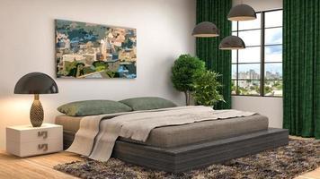 Schlafzimmer Interieur. 3D-Illustration foto