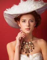 Edwardian Frauen mit Halskette