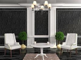 alte Möbel. Sessel mit Tisch im schwarzen Interieur. Lux