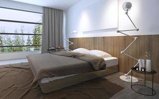 helles Schlafzimmer mit Panoramafenster foto