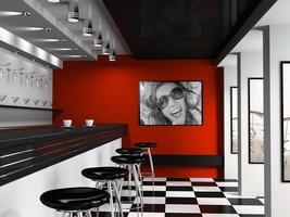 Innenraum der modischen Bar mit Cafeteria-Stühlen foto