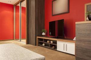 großer Fernseher in moderner Wohnung foto