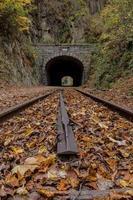 vertikale Ansicht von Eisenbahnschienen und Tunnel