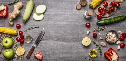 bunte verschiedene Bio-Gemüse Gemüse Platz für Text, Rahmen, Banner foto