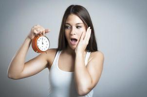 schöne Frauen mit Uhr foto