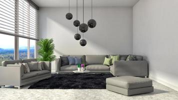 Innenraum mit grauem Sofa. 3D-Illustration