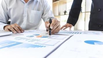 Brainstorming der Business People Group zum Treffen, um die Arbeit des Investitionsprojekts und die Strategie des Geschäftsgesprächs mit dem Partner zu planen