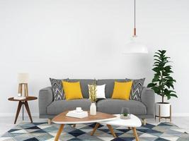 graues Sofa mit gelben Akzenten