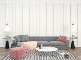 Wohnzimmer Innen graues Sofa