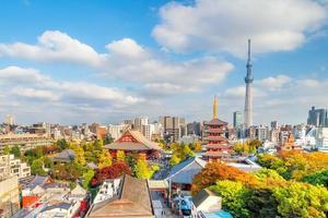 Ansicht der Skyline von Tokio mit sommerblauem Himmel