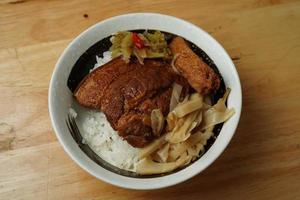 gekochtes Fleisch und Reisgericht