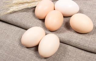 Eier auf dem Hintergrund der Leinwand.