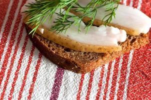 Sandwich mit gesalzenem Schmalz foto