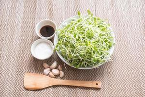 Sonnenblumensprosse und Gewürze (Zucker, Austernsauce, Knoblauch) für f foto