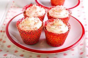 Vanille Zuckerguss Cupcakes foto