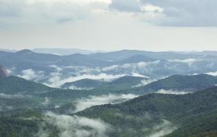 Nebel steigt aus Tälern nach Regen in den südlichen Appalachen