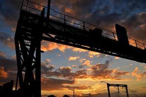 Signalstruktur mit Sonnenuntergang foto