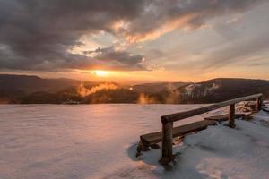 sonnenuntergang im nationalpark schwarzzwald foto