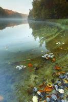 bunter Herbstwald, der im ruhigen See bei Sonnenaufgang reflektiert foto
