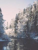verschneite Winterflusslandschaft mit schneebedeckten Bäumen - Retro foto