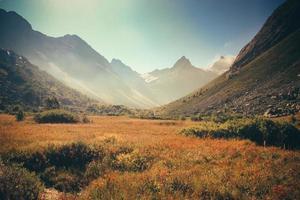 die bergherbstlandschaft mit buntem wald und hohem gipfel foto