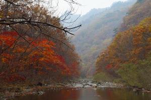 Herbstberg mit See foto