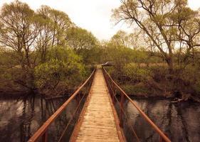 Fußgängerbrücke über den schwarzen Fluss foto
