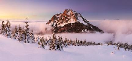 Winter in den Bergen mit felsigem Gipfel - Slowakei