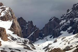 schneebedeckte Berge und Gewitterwolken