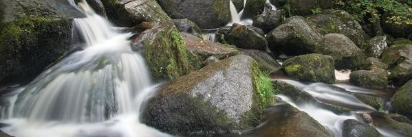 Panorama-Format Landschaft des Wasserfalls im Wald foto