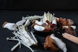 frische Pilze auf Holzbrettern